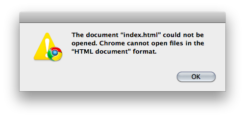 The document 'index.html' could not be opened.  Chrome cannot open files in the 'HTML document' format.
